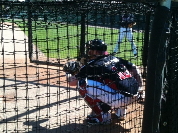 Birthday boy Brian McCann gets to work.  #BravesSpringTraining