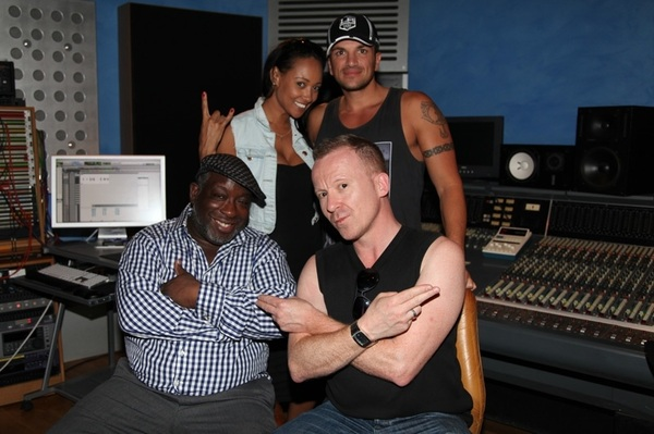 Lisa M , Ronnie , Simon and myself in the studio goofing around 