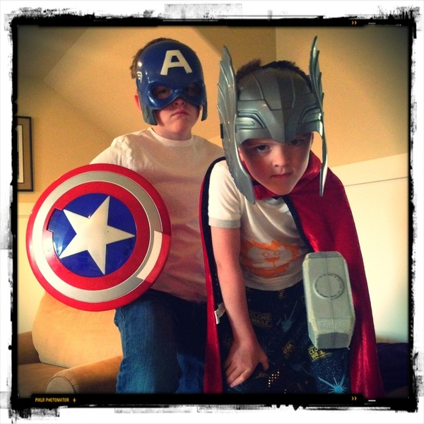 Apparently the Avengers decided to assemble in our house at 7am.  #Avengers