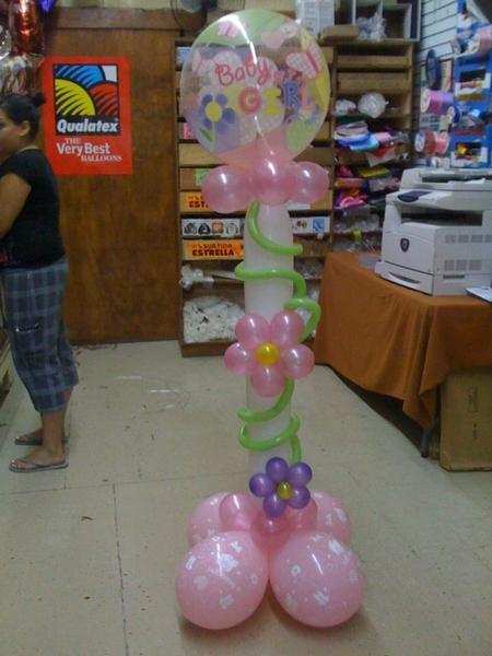 Columna con globos para baby shower de ni a by gilberto de - Decoracion baby shower nina ...
