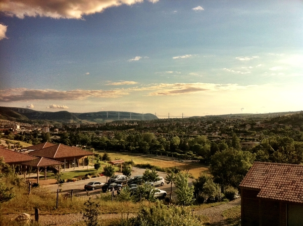 the view on Millau from our lovely cottage at Domaine de Saint Estève