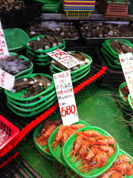 Ameyoko groc store: the shrimp--beautifully presented--were still wiggling