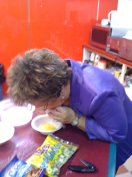 ROL secretary Nancy Roseberry blowing the yolk out of an egg. LOL! #fb