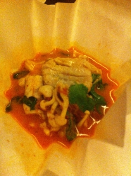 Uchiko:  steamed fish parcel, tomato, galangal, kaffir lime, enoki