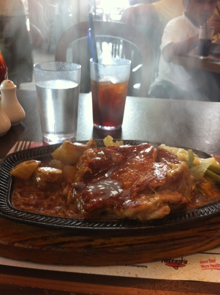Ouch! Just burnt my tongue on this sizzling Chicken Steak with garlic sauce :(