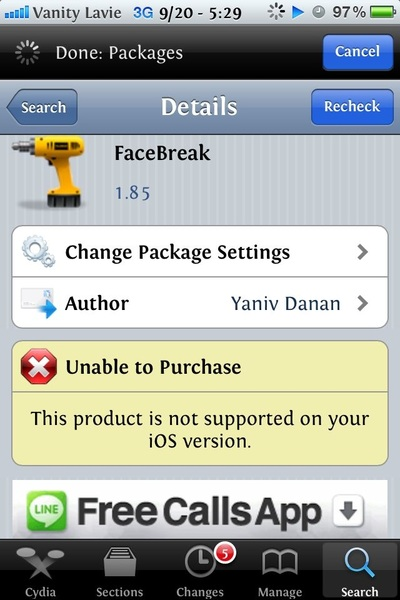 It&#039;s not in installus Cydia says I can&#039;t 