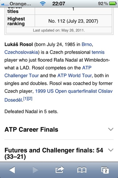 "Spotted: Lukas #Rosol's very amusing Wikipedia entry after ""flooring"" #Nadal in second round of #Wimbledon"