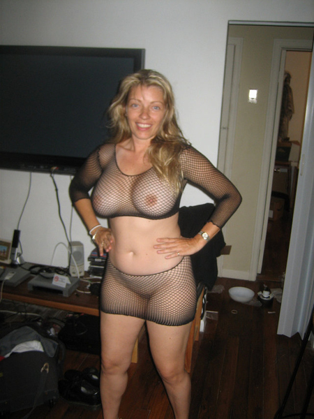 Fishnet big tits see thru lingerie