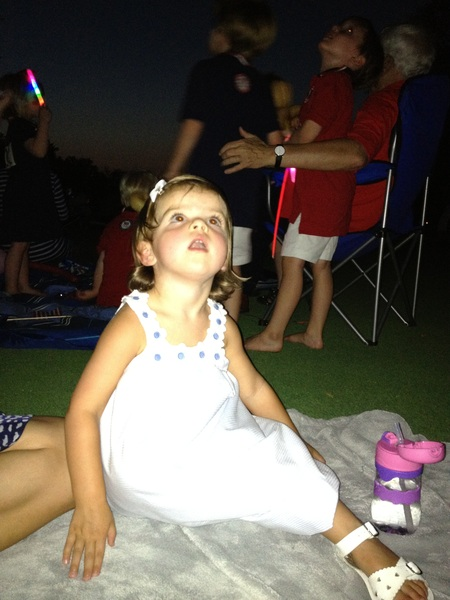 My daughter Elle loving the fireworks #fourthofjuly
