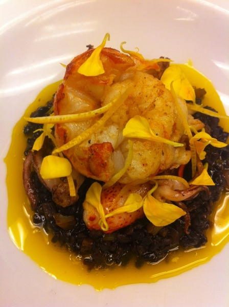 Poss new Topolo dish: lobster & squid w Yuc black rice (recado negro), egg yolk, marigold.