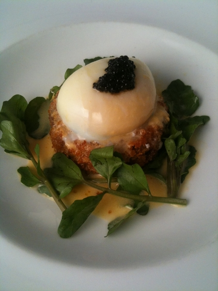 New Topolo Adventurer's Tasting Menu: 1st crs:crispy pigs feet-chorizo nugget,poached egg,sea urchin crema, caviar