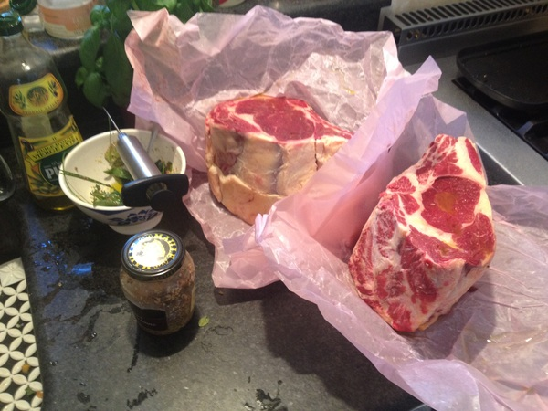 The meat for later today, 2 cotes de boeuf