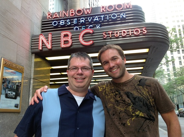 A photo of my fellow Jimmy Fallon V.I.P. studio guests @gspn and @johnleedumas at the NBC entrance.