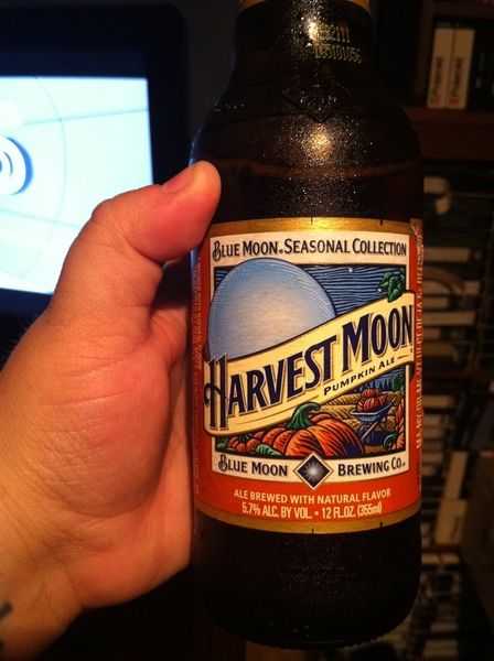 Relaxing with a nice Harvest Moon Pumpkin Ale
