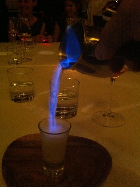 Paxia highlight: warm hotchata topped w flaming posh (aguardiente)