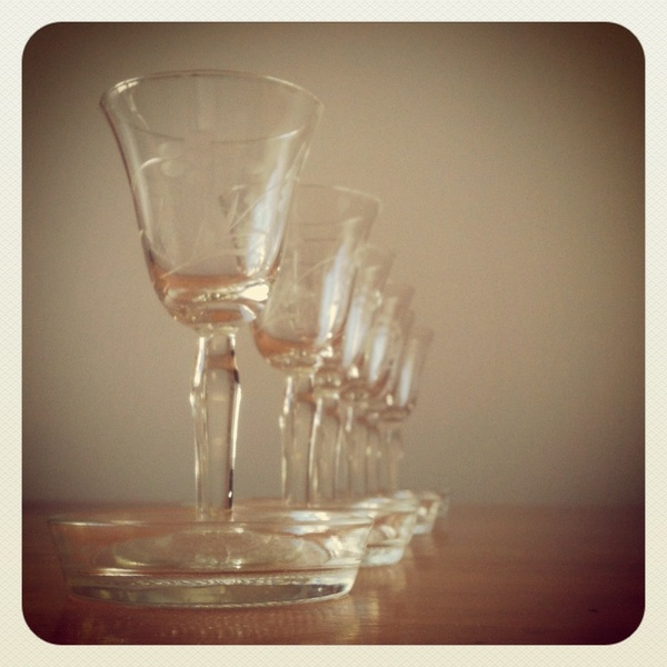 Granny's wine glasses, now mine.
