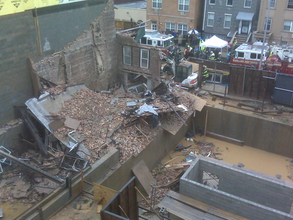 Building behind my studio just collapsed. Two workers trapped, but alive. Yikes!