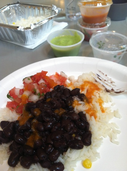The Rice and beans and amazing sauces are so delish at Pampano in Midtown, there's no need for meat:)