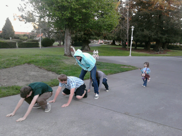 Leap Frog before the concert. Les Brown?