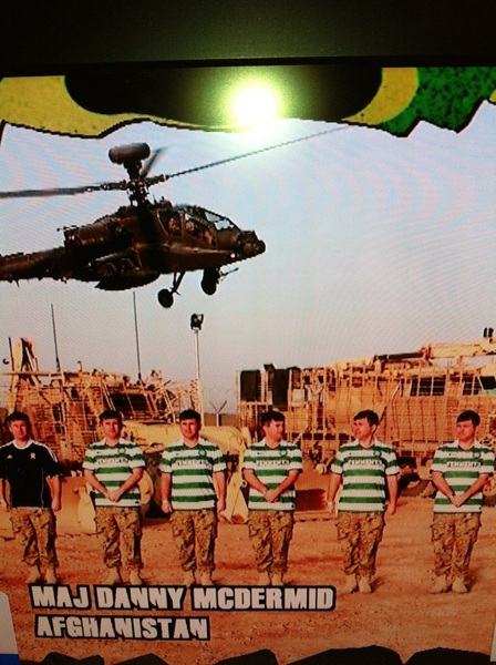 Supporting ALL of our soldiers in Afghanistan. Proud to see the guys in the hoops! #celticfc