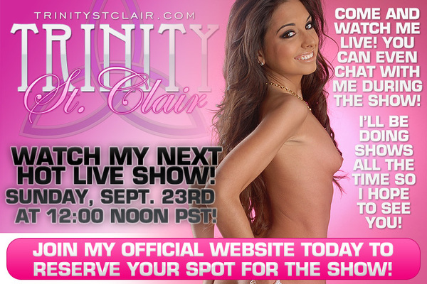 Hey  @TrinityStClair fans! This weeks free live show has been rescheduled too 9/23 @ Noon - http://bit.ly/Ud0ykE