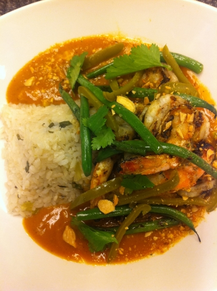 New Frontera Standout: grilled shrimp in Oaxacan almendrado w pckld jalapeo, grld green beans, Gulf wh rice