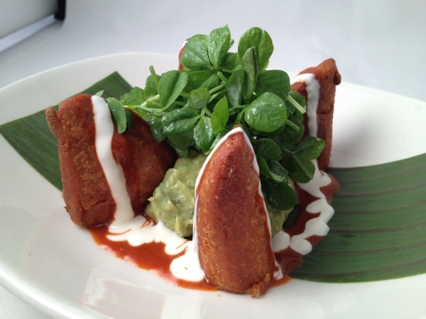New frontera menu: enchiladas potosinas with Tamazula, homemade cream and fresh cheese, avo mash, pea shoots