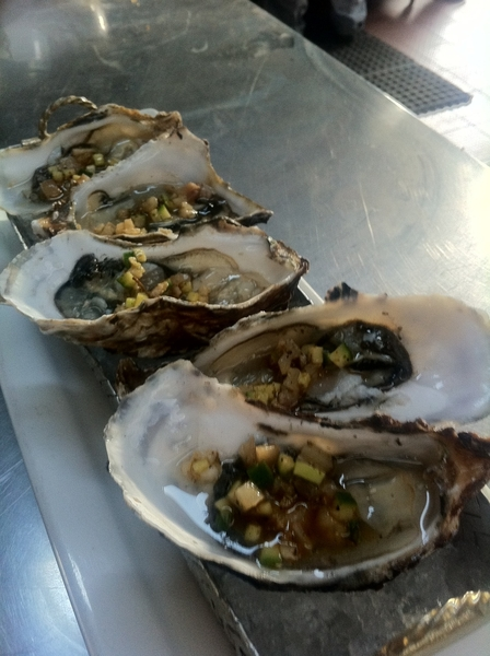 @ Benitoysolange at Mansanilla n Ensenada: raw local oysters w pigs feet &amp; cuke salsa 