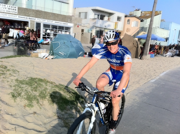 Katie Compton enjoys a recovery ride in Venice beach, California
