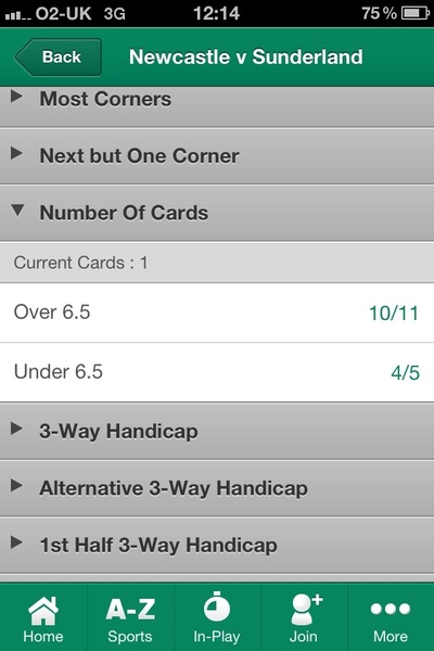 Over6.5 cards very short from @bet365  #nufc #safc