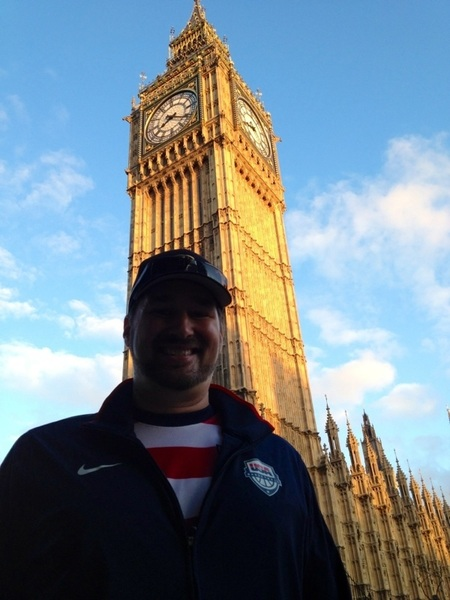 PIC: me in USA clothing + Big Ben.  Watched best Beach Vball team @mistymaytreanor + @kerrileewalsh on planet CRUSH!