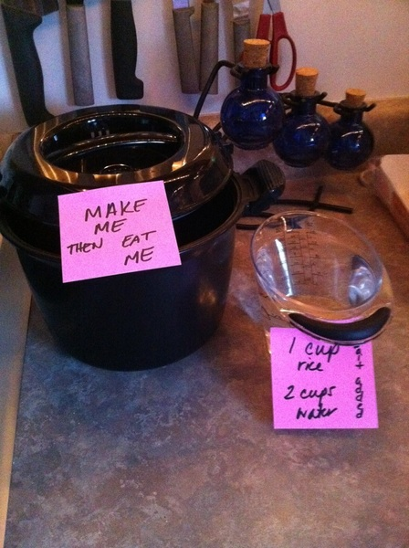 So this is what this working wife did since she couldn't be there. She left sticky notes and things to eat/drink.