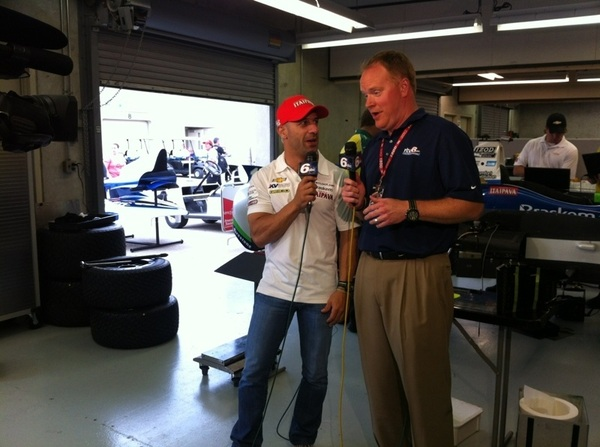 """Whoa!"" @DaveFurst is so excited to have @TonyKanaan back on #TrackSide6! @rtv6 @IndyCar @kvracing #Indy500"