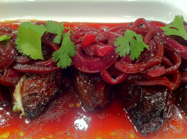 Frontera Test Kitchen: ricotta-stuffed ancho chiles in red wine-red onion escabeche