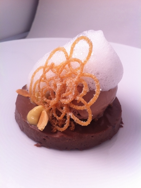 New Topolo tasting:5th: champurrado dreams: chocolate tamal &quot;cake,&quot; champurrado ice cream, milk foam, churro lace