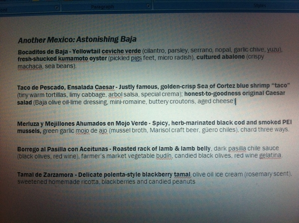 Just finishing copy 4 new Baja menu that starts Tuesday nite in Topolo. vry, very happy w/ how it&#039;s turning out