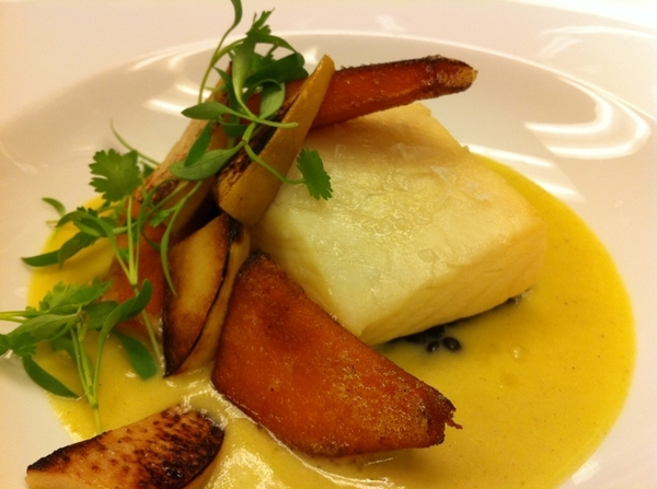 Testing poss new Oax Topolo menu: chamomile-poached halibut w squash blossom sauce, bl lentils,kuri squash,quince