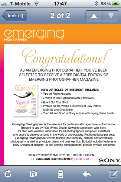 Fuck off 'Emerging Photographer' magazine. I'm 43 years old. Also, the word 'emerging' is the douchiest word ever.