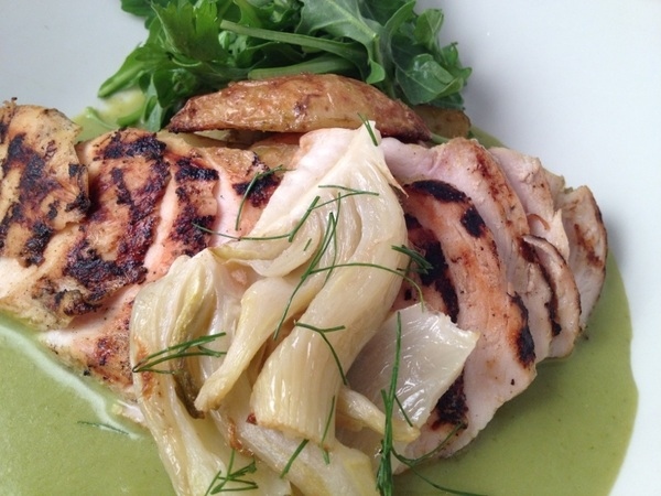 New Frontera Menu: grilled chicken with roasted fennel-poblano crema, fingerlings (shrimp have herb green rice)