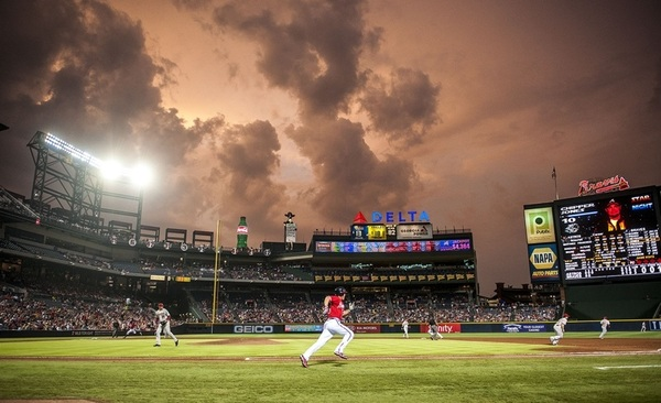 Photo of the Day:  Chipper hits a 2-run double last night against an awesome Atlanta sky.  Via @BravesPhoto