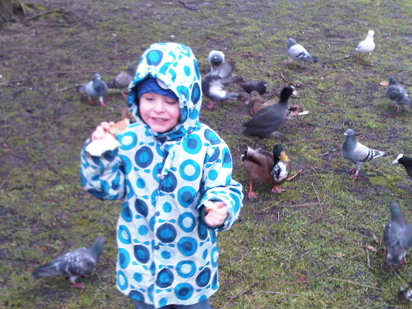 Vinz feeding the ducks