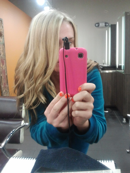 Not the best hair-do but here is how light my new hair color is..