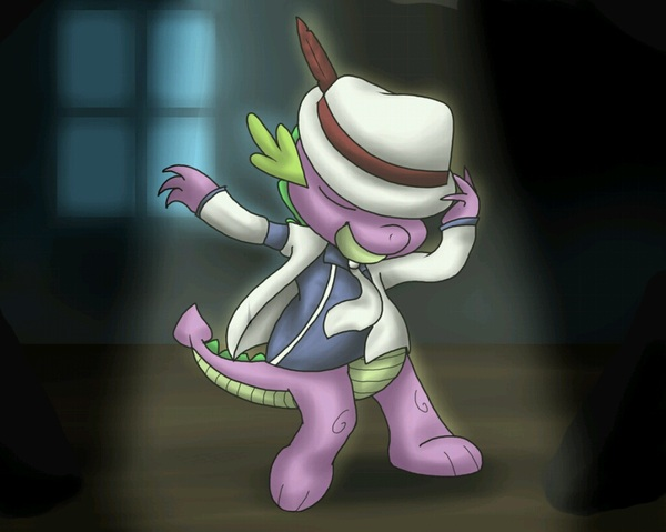 Spike from #MLP doing the MJ smooth criminal dance. #Awesome #RipMJ