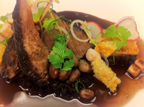 Yuc Menu#4: 4 kinds of pork: belly&amp;shldr braised in bl bean-habanero broth,chicharrn, grilled loin,bl rice,xnipec