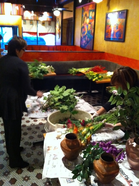 Early Tuesday: My wife and other front house managers making all the flower arrangements for Frontera,Topolo, Xoco