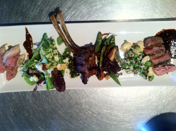 La Querencia: Chef Miguel Angel's dish of lamb 3 way, 3 influences of cuisine here: Asian, Mexican, Mediterranean
