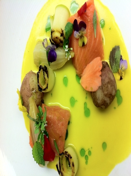 Working w chefs Zach&amp;Joel on new Topolo dish: Salmon w flowers&amp;herbs.Sq bloss sauce (gero chile,crema),calabacita