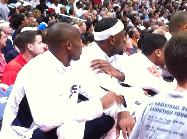 Labron and Kobe watching.  USA trails by 10.  Very cool to watch them in action 
