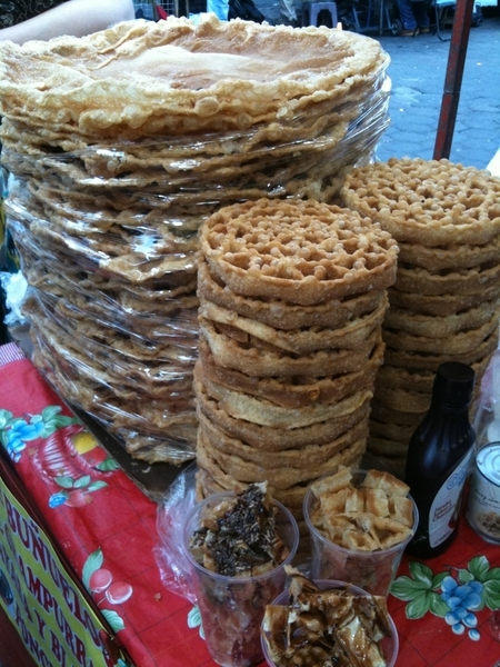 Coyoacan: for dessert: buuelos (stretched &amp; rosette types) w piloncillo-guava syrup