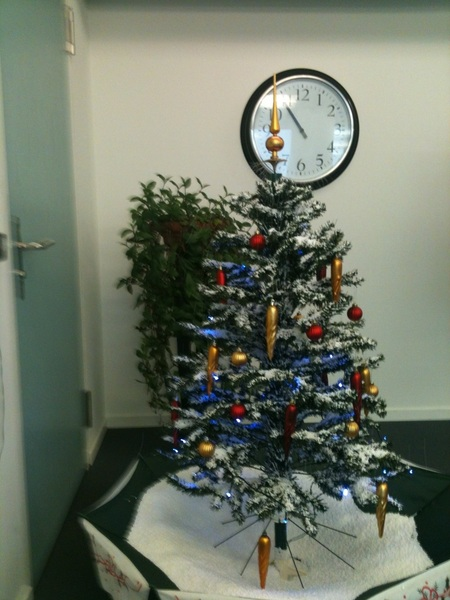 My dentist has the ultimate kitsch Christmas tree: it sucks up plastic snow and sprays it from the top.  #design